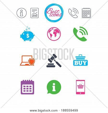 Information, report and calendar signs. Online shopping, e-commerce and business icons. Auction, phone call and information signs. Piggy bank, calendar and smartphone symbols. Vector