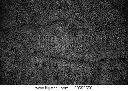 Gloomy Concrete Wall With Cracks. Destroyed Black Slab Of Slab