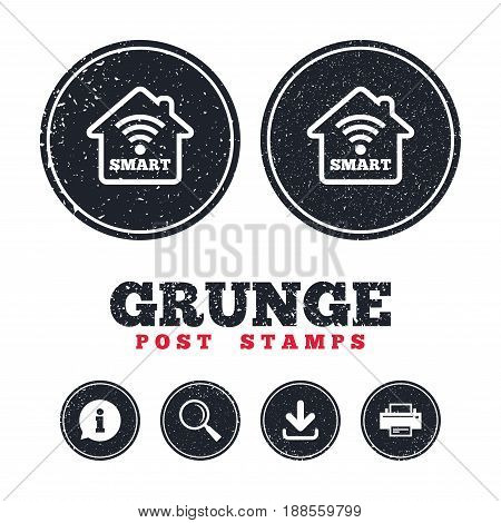 Grunge post stamps. Smart home sign icon. Smart house button. Remote control. Information, download and printer signs. Aged texture web buttons. Vector