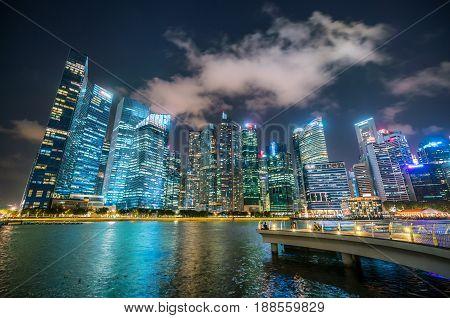 Singapore Skyline At Night From Marina Bay