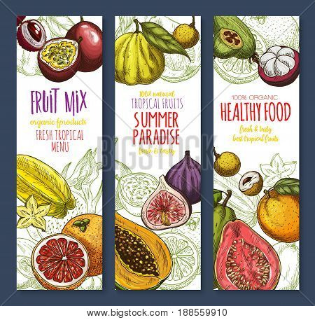 Exotic and tropical fruits banners set. Vector mix or natural avocado, guava and carambola, fresh organic mangosteen or passionfruit, mango or figs and juicy dragon fruit, feijoa and orange