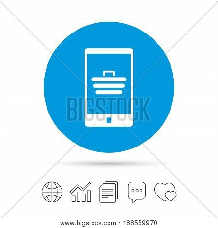 Smartphone with shopping cart sign icon. Online buying symbol. Copy files, chat speech bubble and chart web icons. Vector