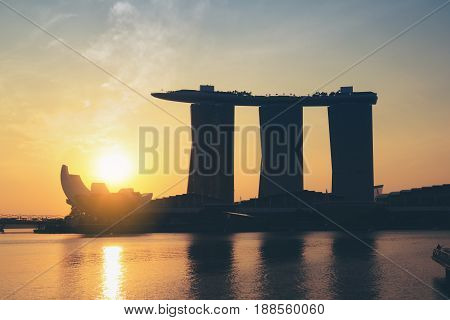 Singapore city SINGAPORE - FEBRUARY 10 2017 : Marina Bay Sands Hotel Landmark of Singapore during morning sunrise at Marina Bay Singapore.