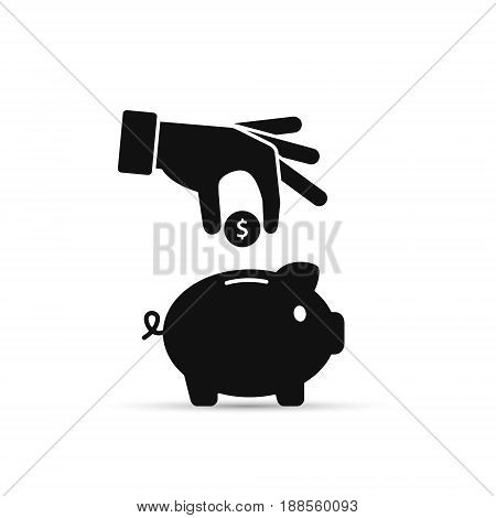 Piggy bank and hand with coin black icon. Vector isolated illustration.