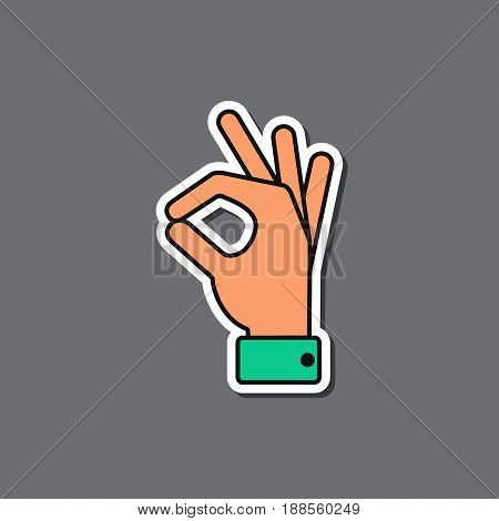 Okay icon hand paper sticker Vector ok symbol isolated positive sign.
