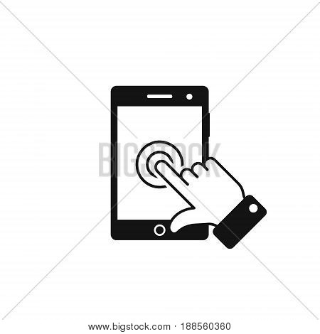 Phone touch screen with finger icon vector touch smartphone isolated simple symbol.