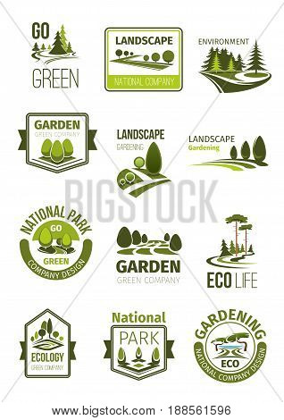 Garden and green landscape design company icons set. Vector symbols of parks and squares, nature greenery landscape of eco woodland and parkland forest for green environment and landscaping