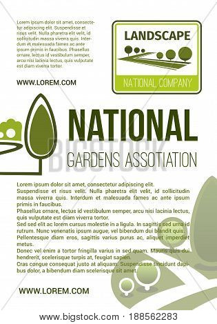 Parks planting and gardens landscape poster for company or eco environmental association. Vector design green trees on squares, nature greenery and woodland or parkland forest