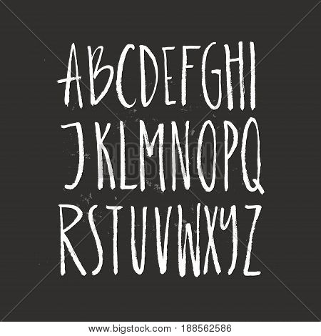 Rustic font - unique handdrawn alphabet. Latin letters drawn by brush. Vector ABC with real texture - letters isolated and easy to use for your lettering design.