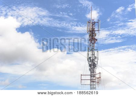 Communication antenna tower with the sky background in close-up scene.Telecommunication concept.