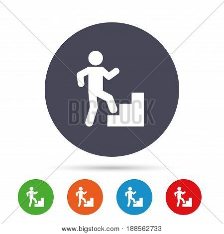 Upstairs icon. Human walking on ladder sign. Round colourful buttons with flat icons. Vector