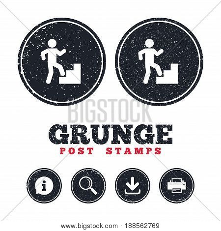 Grunge post stamps. Upstairs icon. Human walking on ladder sign. Information, download and printer signs. Aged texture web buttons. Vector