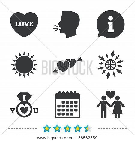 Valentine day love icons. I love you ring symbol. Couple lovers sign. Information, go to web and calendar icons. Sun and loud speak symbol. Vector