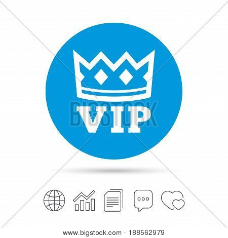 Vip sign icon. Membership symbol. Very important person. Copy files, chat speech bubble and chart web icons. Vector