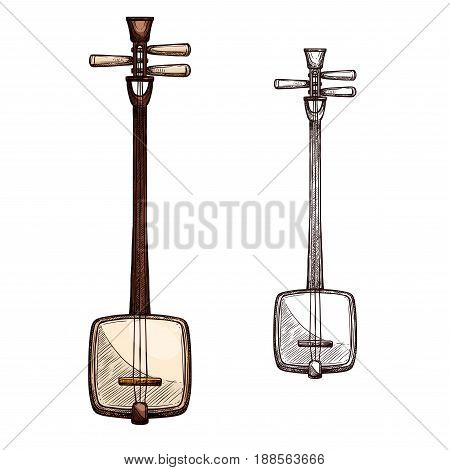 Japanese string music instrument. Shamisen, samisen or sangen vector sketch symbol of musical plucking type of guitar with three strings for ethnic or folk music concert or festival design