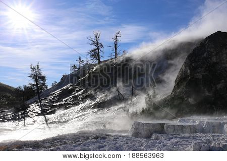 Mammoth Hotspring in Yellowstone Natinal Park, USA
