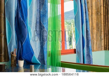 Colourful window curtains made of textile - Sikkim India