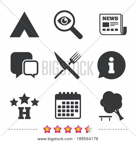 Food, hotel, camping tent and tree icons. Knife and fork. Break down tree. Road signs. Newspaper, information and calendar icons. Investigate magnifier, chat symbol. Vector