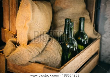 Foodstuff Storage Or Food Stock And Drink Bottle Goods Cargo Shipping Concept.