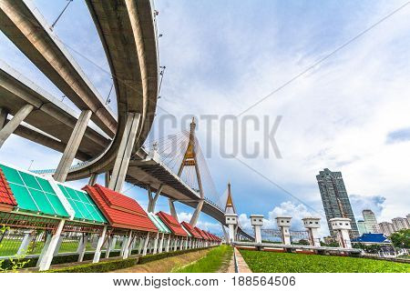 Bhumibol Bridge Across Cho Phraya River