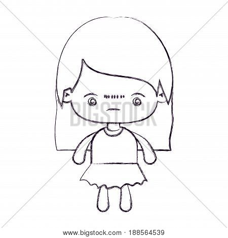 blurred thin silhouette of kawaii little girl with straight hair and facial expression bored vector illustration