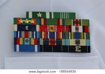 NEW YORK - MAY 28, 2017: US Navy military ribbons on United States Navy Uniform in New York