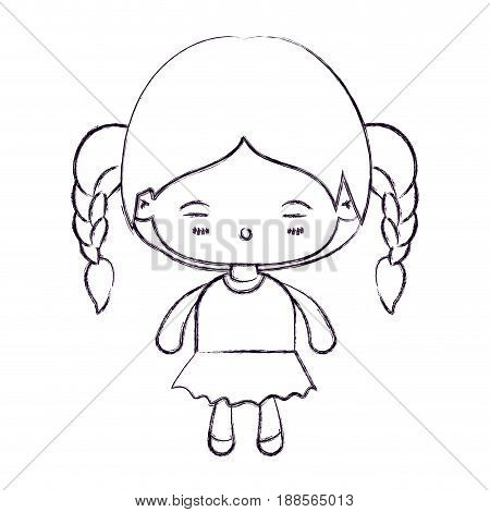 blurred thin silhouette of kawaii little girl with braided hair and facial expression tired vector illustration