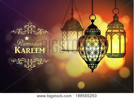 Intricate Arabic lamps with lights for Ramadan Kareem vector