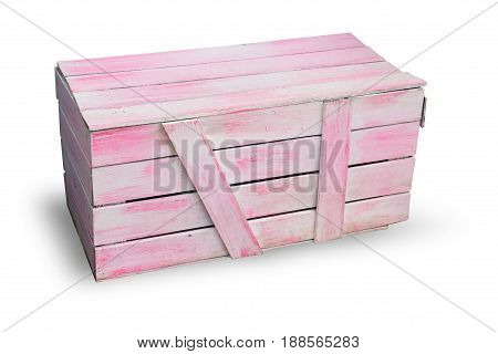 Pink Cargo Goods Wood Box Isolated On White With Clipping Path.