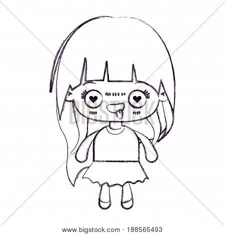 blurred thin silhouette of kawaii little girl with long hair and facial expression enamored vector illustration