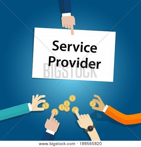 service provider user customer pay fees for the company vector