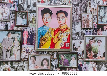 Hua-hin, Thailand - May 13, 2017 : Thai King Photos, Collection Of Portrait Photograph Of King Bhumi