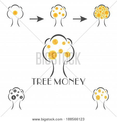 money tree vector logo template on a white background