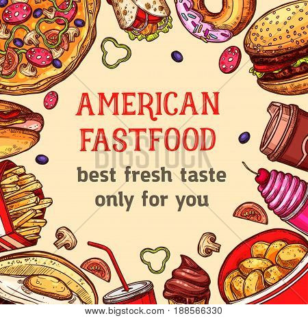 Fast food poster of vector pizza and hot dog, combo meals and french fries snacks, ice cream and milkshake dessert, sandwiches of cheeseburger or hamburger and popcorn for fastfood restaurant menu