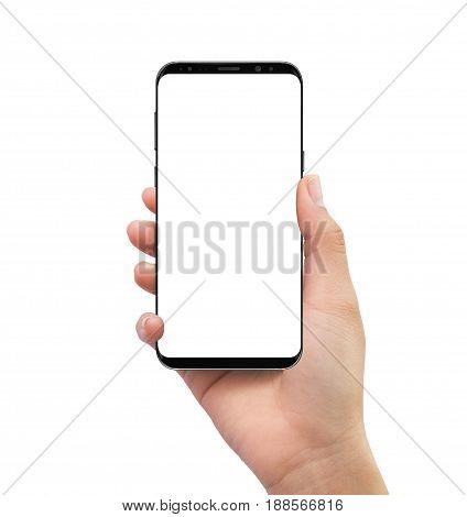 Isolated Human Right Hand Holding Black Mobile White Screen Smartphone