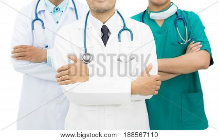 Doctors Group Isolated On White Background.