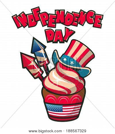 Vector illustration Independence day america festive cupcake with cream salute and hat uncle Sam