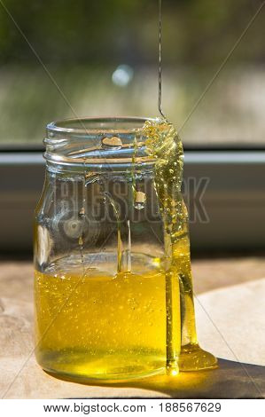 Organic Pure Honey In Jar On Window Sill. Stream Of Honey