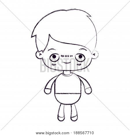 blurred thin silhouette of kawaii little boy with embarrassed facial expression vector illustration