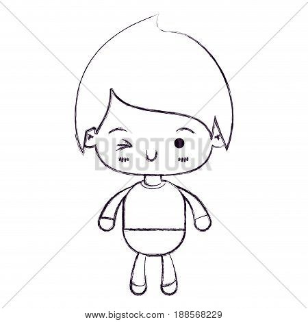 blurred thin silhouette of kawaii little boy winking eye vector illustration