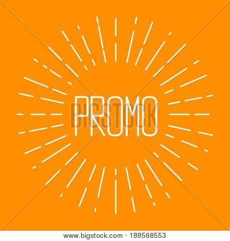 Card promo with starburst. Orange retro banner sunburst. Vector illustration.