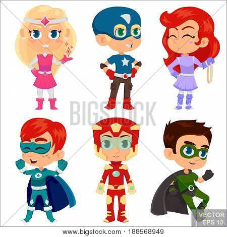 Superhero kids boys and girls cartoon vector illustration. Super children illustration. young hero kids playing, fly in action. eps10