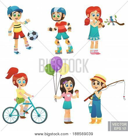 Set Cartoon cute little children kids enjoying summer outdoor in park Fishing, play football, Ride a bike roller, Eat ice cream, play flute