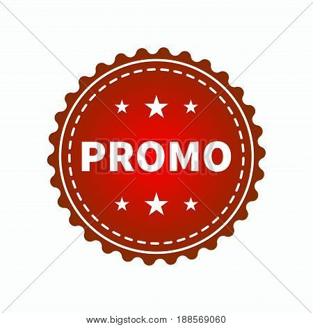 Round sign with word promo. Red web icon advertising promo action. Vector illustration.
