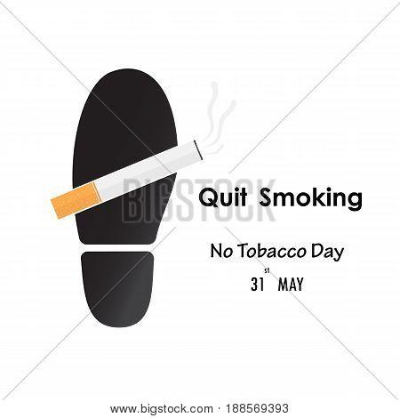 Shoe printsfoot prints and Quit Tobacco sign.World no tobacco day.No Smoking Day Awareness.Vector illustration.