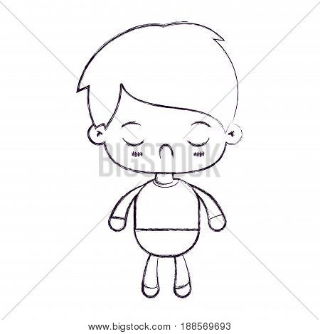 blurred thin silhouette of kawaii little boy with facial expression disgust with closed eyes vector illustration