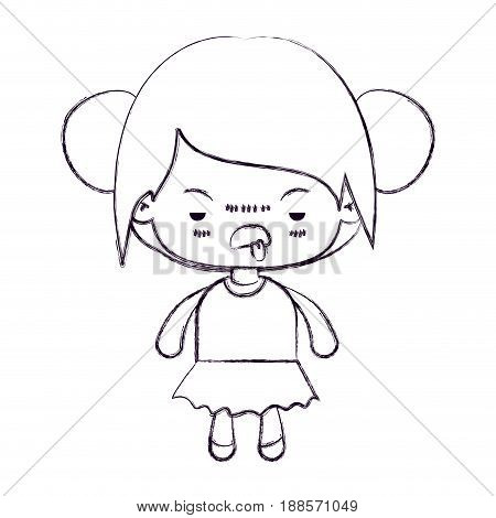 blurred thin silhouette of kawaii little girl with collected hair and facial expression unsavory vector illustration