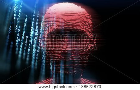 Blue Digital Cyber Hacker  3D Illustration