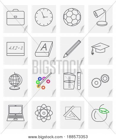 Set of sixteen vector images - icons for a school site with a picture of objects on a sheet of paper with a curved corner.