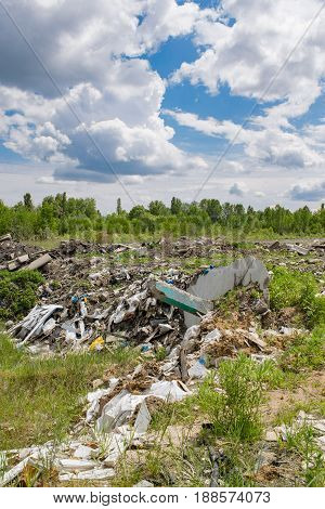 Illegal garbage dumping outside the forest on a hot summer day